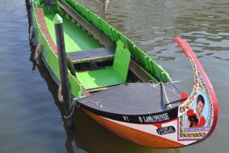 One of the many colourful canal boats in Aveiro