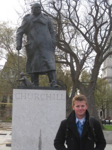 Standing next to the statue of Winston Churchill in Parliament Square, London.